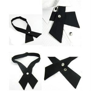 Crossover Solid Color Black Butterfly Bow Tie Knot Bowtie Men's Necktie Women's Neck Ties Ascot Cravat