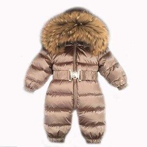 Image 1 - 2020 חורף חם למטה תינוק בני סרבלי סלעית נדל פרווה בנות Rompers ארוך שרוול יוניסקס סרבל תינוקות סרבל פעוט חליפת שלג
