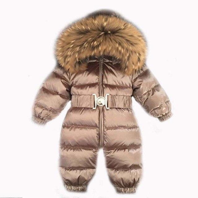 2020 الشتاء الدافئة أسفل طفل الفتيان حللا مقنعين الفراء الحقيقي الفتيات السروال القصير طويلة الأكمام للجنسين نيسيي وزرة طفل الثلج