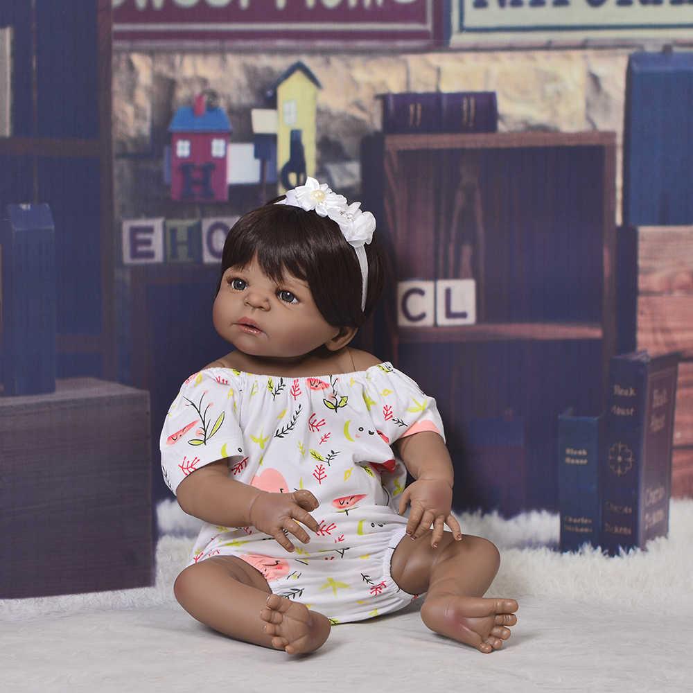 55 см полная силиконовая кукла Reborn Baby Toy 22 дюймов черная кожа новорожденная девочка принцесса малыш младенец кукла bebes возрожденная менина
