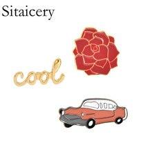 Sitaicery Cute Flower Car Cool Collection Enamel Pin Cartoon Brooch Lapel Custom Badge Gift For Kids Girl Women