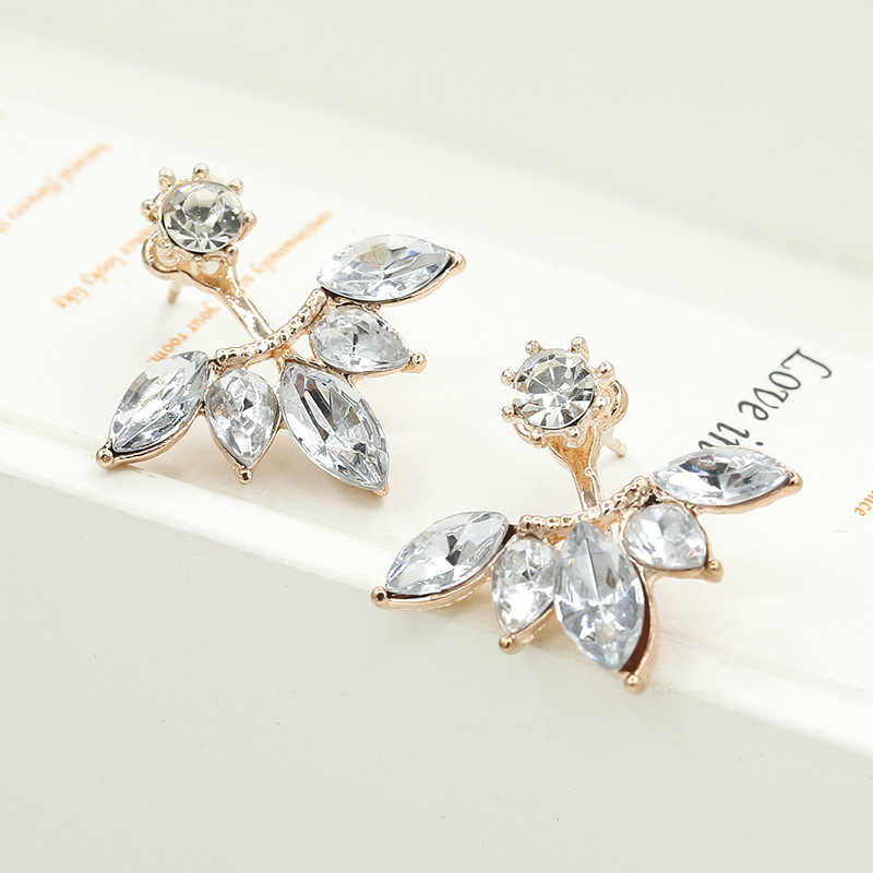 Pair of Touch the Soul Gold and Silver Plated Leave Crystal Stud Earrings Fashion Statement Jewelry Earrings for Women
