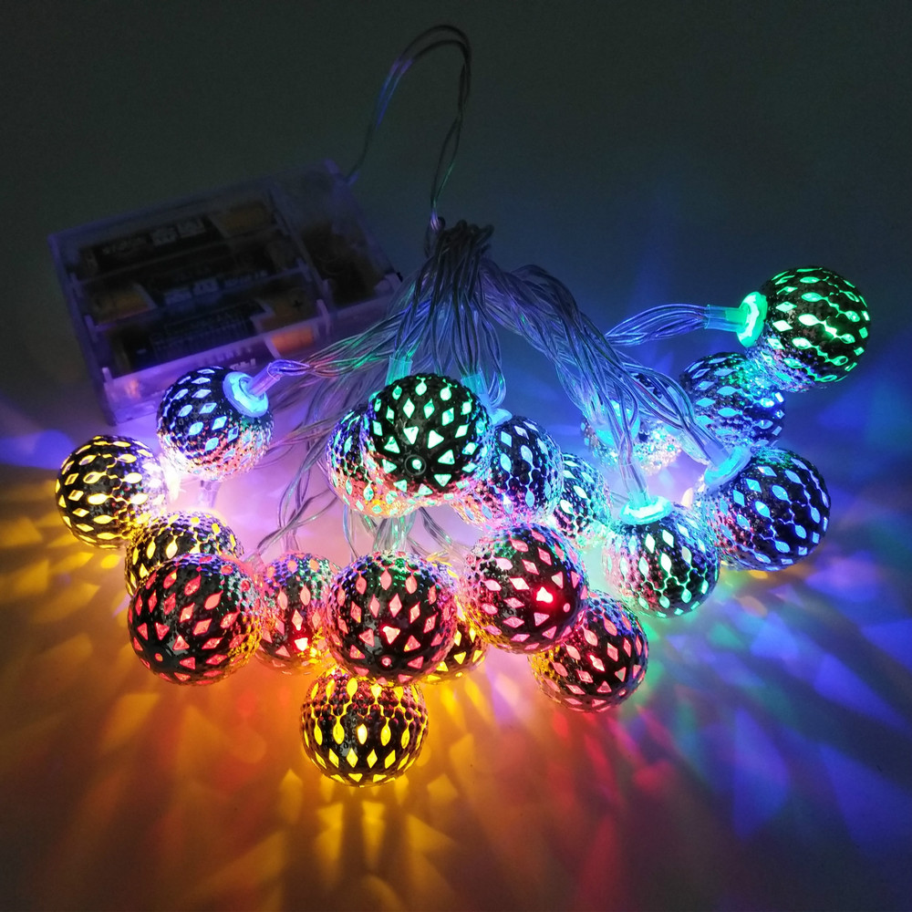 New Morocco Decor Style Ball LED Light Strings USB Operated Party Light For Holiday Christmas Wedding Resturant Hotel Decoration