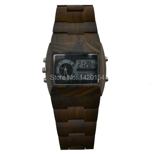 BeWell Wooden Watch Black Sandalwood Rectangle Face Mens Analog Digital Watches пуф wooden круглый белый