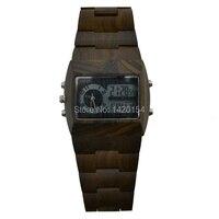 Bewellนาฬิกาไม้สีดำs andalwoodสี่เหลี่ยมผืนผ้าใบหน้าบุรุษอนาล็อกนาฬิกาดิจิตอ