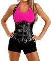 WomenS Steel Boned PU Leather Corset Lace Up Buckle Design Underbust Bustier Shapewear