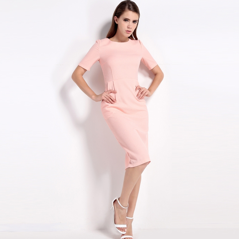 HDY Haoduoyi 2017 New Fashion Women Bodycon Dress Summer Solid Pink Short Sleeve Female Dress O Neck Cute Sexy Empire Dress 6
