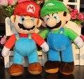 Новый 26 СМ = 10 ''Super Mario Bros Плюшевые Игрушки Куклы Стенд MARIO & LUIGI Комплект 2 шт. Плюшевые Игрушки Розничная Детский Мультфильм подарок