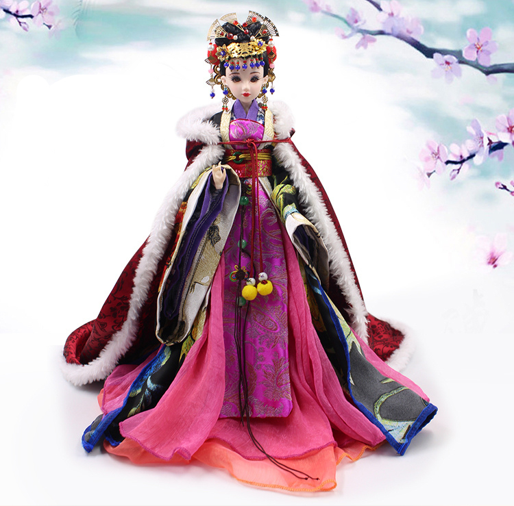 Free shipping cost Chinese ancient myth national costume queen hairpin faerie dolls for girls toys birthday