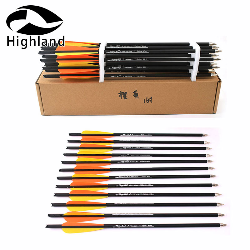 12PCS Target Arrows Crossbow Bolt 16 /20 Inch Crossbow Bolts Carbon Arrow For Archery Hunting Shooting With Orange Yellow Feathe