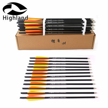 12PCS Target Arrows Crossbow Bolt 16 /20 inch Bolts Carbon Arrow for Archery Hunting Shooting with Orange yellow feathe