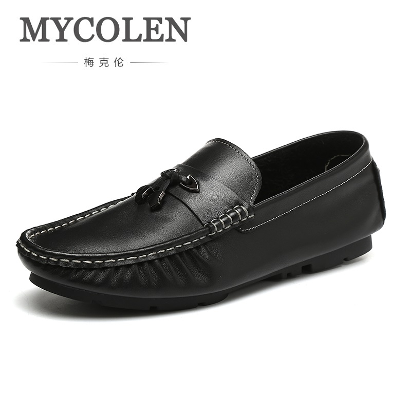MYCOLEN High Quality Genuine Leather Men Loafers Fashion Slip-On Doug Shoes Flats Luxury Brand Men Shoes Calzado Hombre 2017 brand new spring men fashion loafers shoes slip on flats genuine leather shoes young men breathable casual shoes wa 32