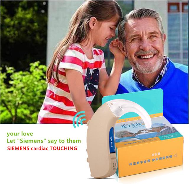 Amplificador de Audição sem fio Aparelhos Auditivos High-Power LOTUS 12 P Digital BTE Aparelhos Auditivos Aid Ear Amplificador de Som Tocando