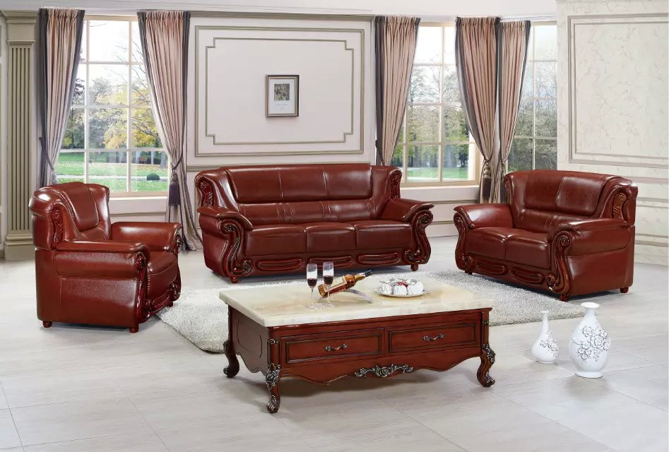 Red Oak Solid Wood Leather Sofa Set With Reclining Chair Lounge Living Room Furniture Prf931b
