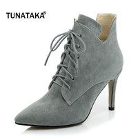 Woman Suede Pointed Toe Lace Up Thin High Heel Ankle Boots Fashion Cross Tied Dress Winter