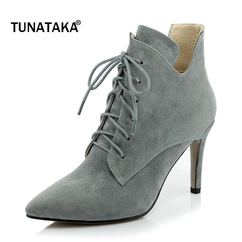 Woman Suede Pointed Toe Lace Up Thin High Heel Ankle Boots Fashion Cross Tied Dress Winter Boots Black Gray Green autumn winter cool fashion black leather and suede spike heel short boots charming woman pointed toe ankle boots concise design