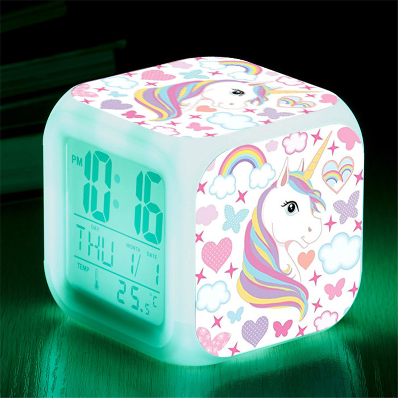 Alarm-Clock Unicorn Changing-Night-Light Digital Kids Student Child Gift Cartoon Led title=