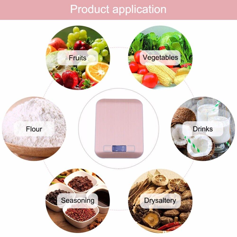 Цифровые кухонные весы yieryi, электронный прибор для измерения пищи, из нержавеющей стали, розовое золото, 10 кг/1 г-4