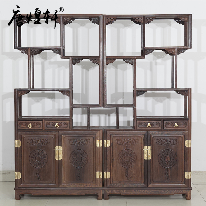 Wooden Lanterns Chinese Antique Curio Cabinet Wood Shelf Shelf Display Rack, Antique Wood
