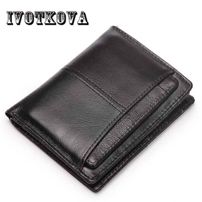IVOTKOVA Top Quality Cow Genuine Leather Men Wallets Fashion Splice Purse Dollar Bag Price Carteira Masculina Free Shipping Gift 2017 luxury brand men genuine leather wallet top leather men wallets clutch plaid leather purse carteira masculina phone bag