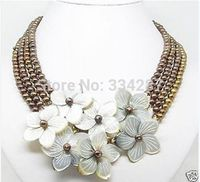 10x10 jewerly freeshipping New Genuine 6 7MM Chocolate Pearls shell Flower wedding/Party/Ball/Gift necklaces