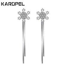 Cubic Zirconia Snow Tassel Long Earrings Zircon Snowflake Earring For Women Bridesmaid Party Jewelry gifts