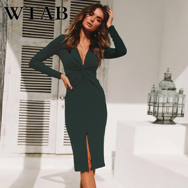 6ae6c52235 WTAB vestidos 2018 outono e inverno vestido sexy profundo decote em v plait  Torção fenda mulheres
