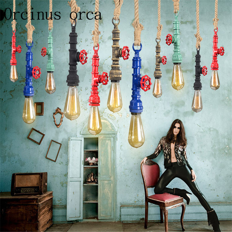 Nordic Industrial wind country rope chandeliers restaurants bars American style vintage water pipes chandeliers free shipping