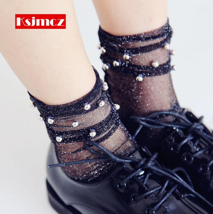 1 Pair KSJMCZ Women Sexy Glitter Mesh Fishnet Socks Female Shiny Soft Breathable Handmade Bead Heap