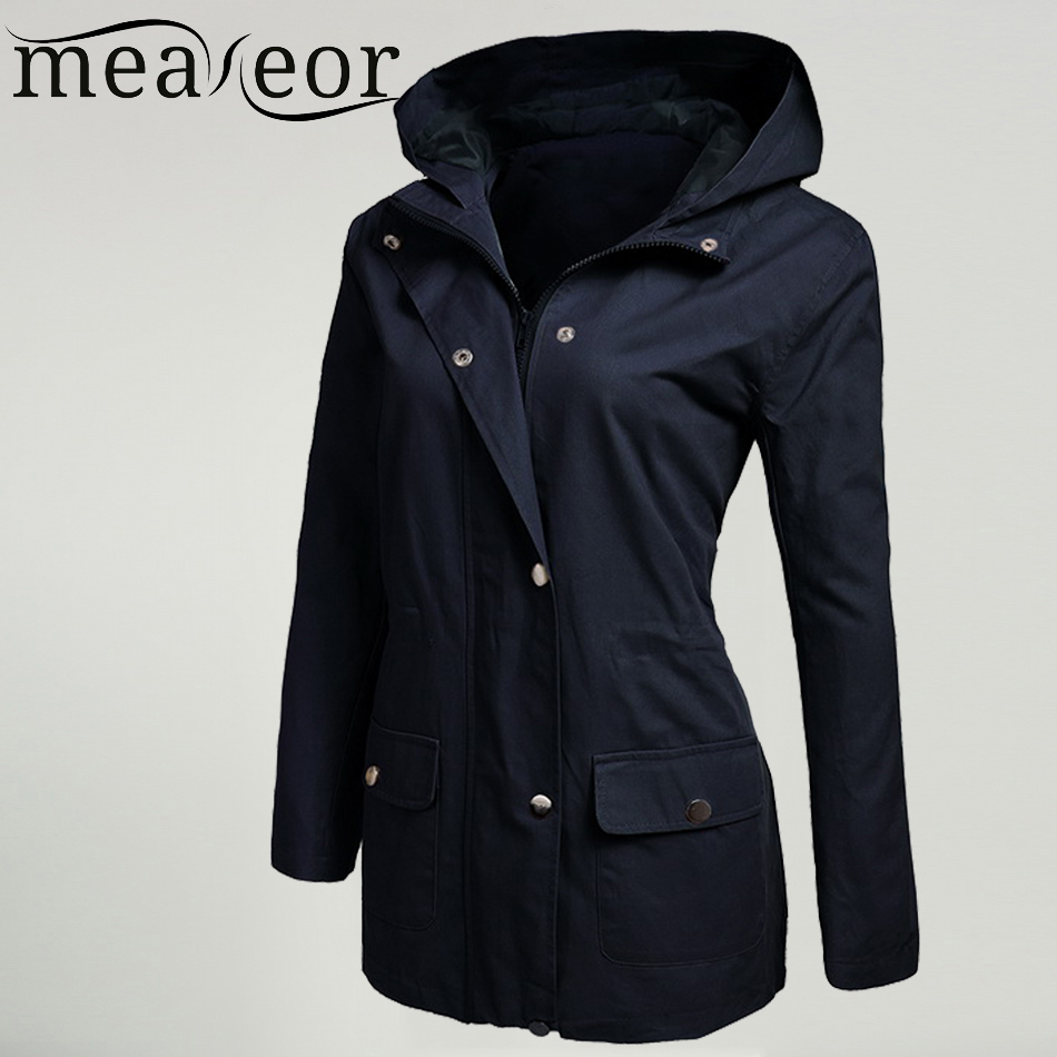 Meaneor Women Military Jacket with Pocket Spring Autumn Solid Drawstring Hooded Zip Up Winter Zip Front Long Sleeve Coat