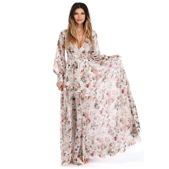 Plus Size Maxi Dresses For Women Floral V Neck Long Sleeve Chiffon ...