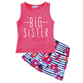Baby girl clothing set arrow summer 2017 toddler girl clothes sets big sister t shirt + skirt flower kids clothing set for girls