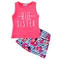 Roupa do bebé que set seta verão 2017 conjuntos de roupas da menina da criança irmã mais velha camiseta + saia flor crianças conjunto de roupas para meninas
