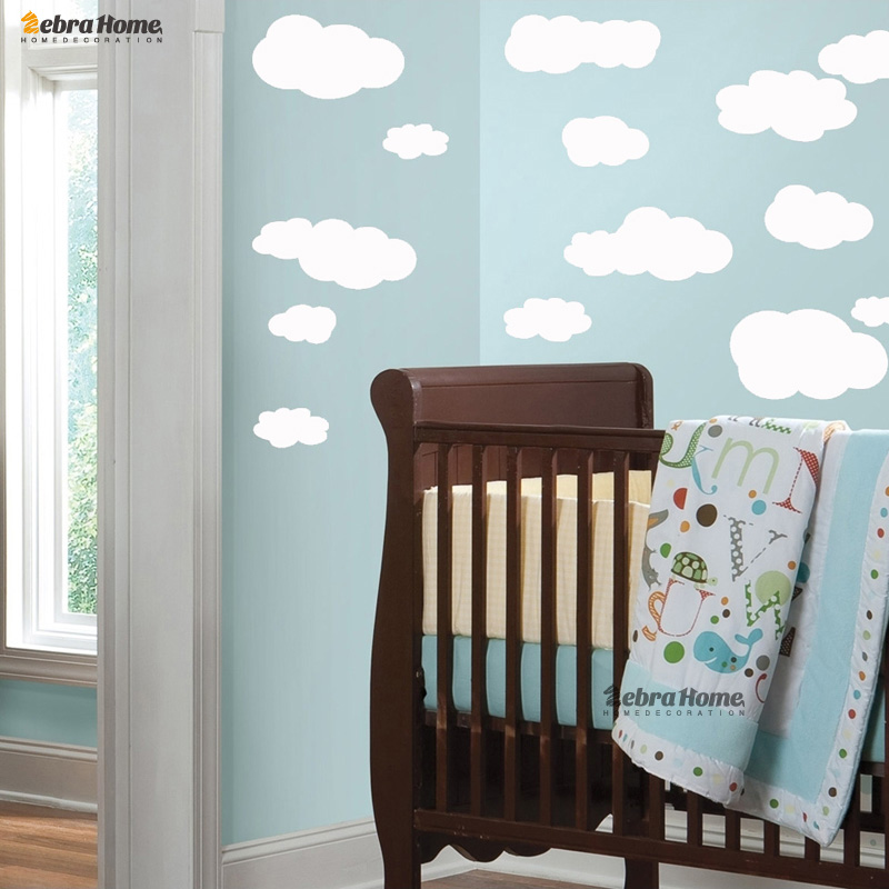 19pcs White Cloud Vinyl Wall Stickers Decal Nursery