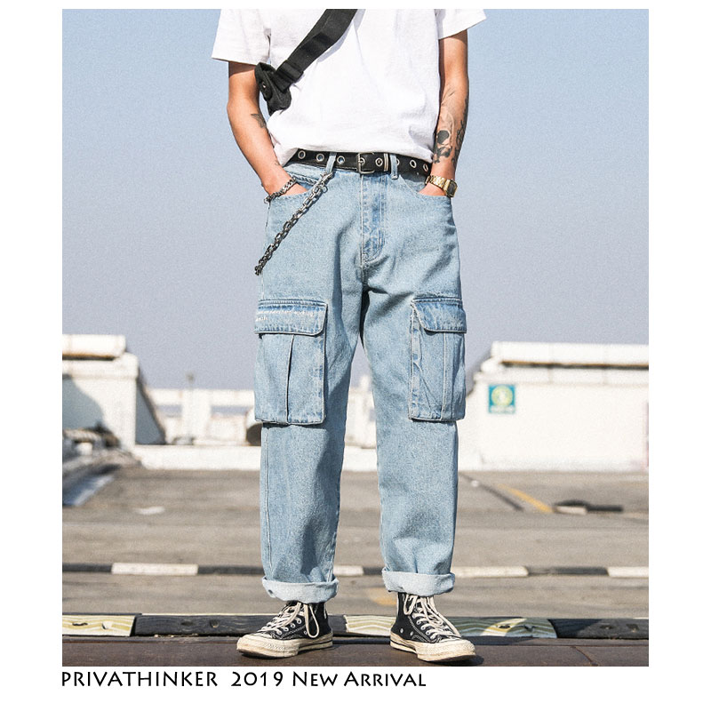 Privathinker Men Blue   Jeans   Pants 2019 Mens Harajuku Overalls Denim Straight Pants Overalls Male Korean Fashions Harem Pants