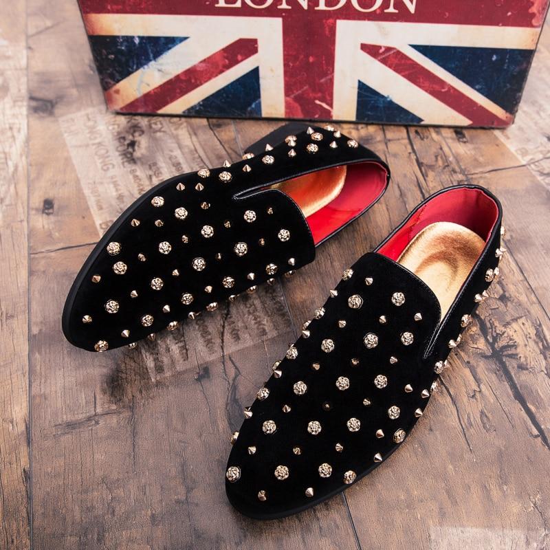HTB1iopBXJfvK1RjSspfq6zzXFXap New Fashion Gold Top and Metal Toe Men Velvet Dress shoes Italian men's dress shoes Handmade Loafers