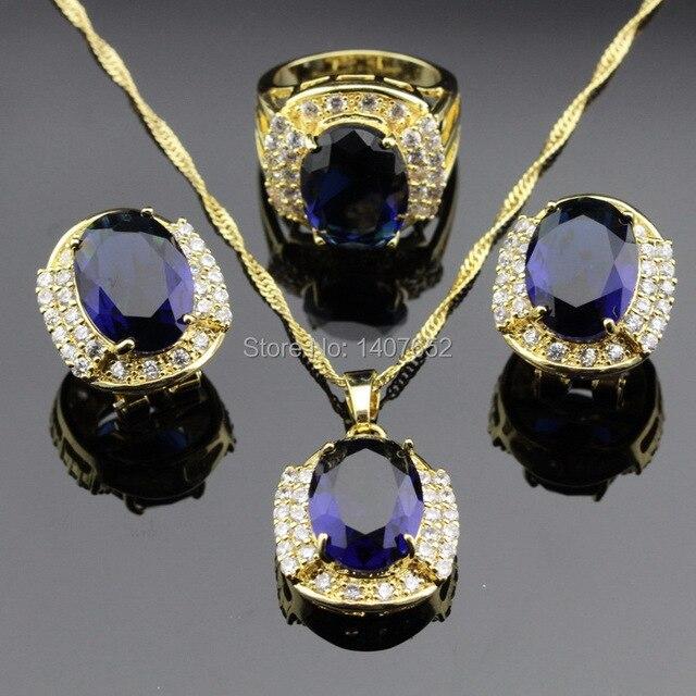 Синий Создания Сапфир Топаз Ювелирные Наборы Для Женщин Позолоченные Хооп Серьги Ожерелья Кольца Бесплатный Jewelry Box