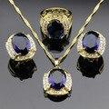 Creado Sapphire Topacio azul Sistemas de La Joyería Para Las Mujeres Pendientes de Aro de Oro Collar Colgante Anillos Joyero Gratuito