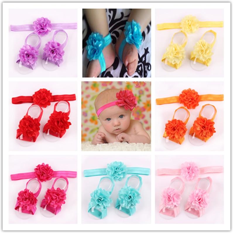 3 Pcs/lot Cute Foot Flower Barefoot Sandals+Headband Set Elastic Hairbands Headbands 17 colors самолеты импеллерные art tech