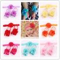 3 Pcs/lot Girls Cute Foot Flower Barefoot Sandals+Headband Baby Set Elastic Hairbands Infant Kids Headbands 17 colors