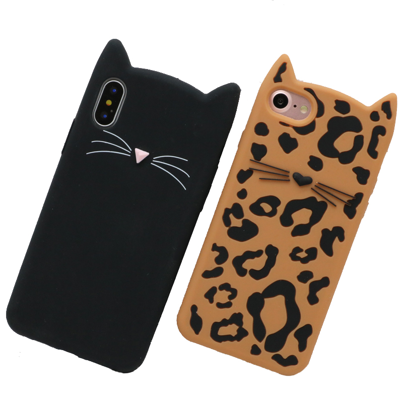 3D Cute Cases For iPhone 5S Case 6 7 SE 8 Plus X Animal Leopard Beard Cat Silicon Cover For Samsung Galaxy S7 Edge S8 Case Coque image
