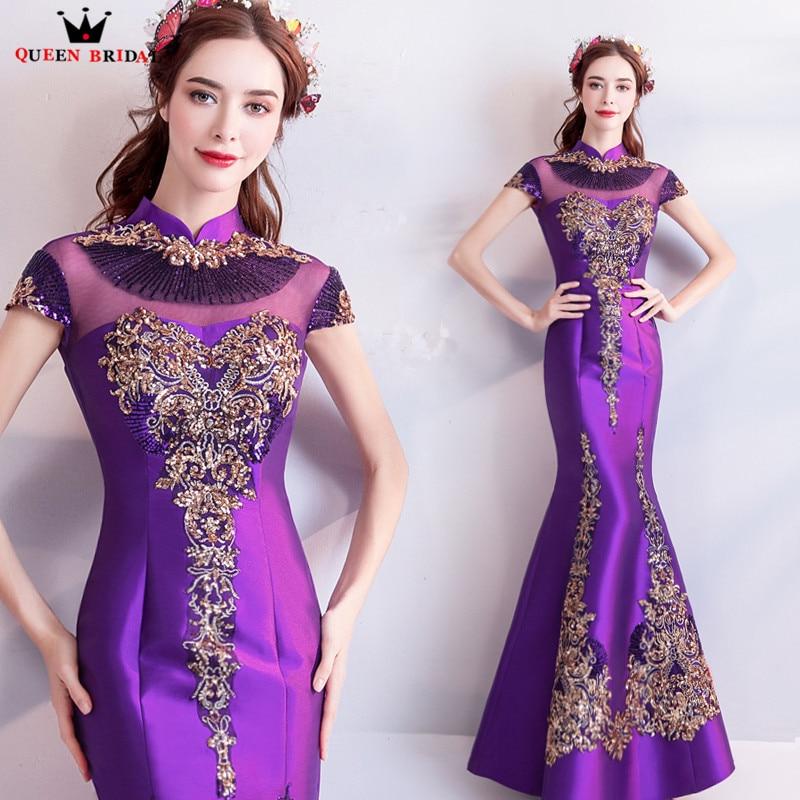 Mermaid High Neck Satin Embroidery Beading Sexy Purple Evening Dresses Prom Dresses Gowns Vestido De Festa QUEEN BRIDAL NT04