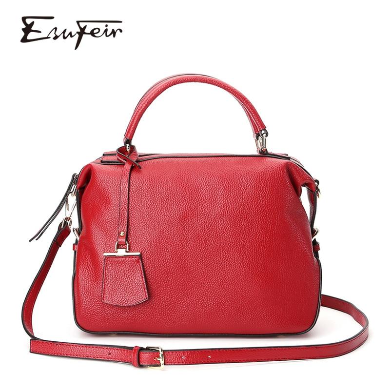 ESUFEIR Genuine Leather Handbag Luxury Handbags Women Bags Designer Fashion Shoulder Bag Casual Tote Bag Messenger