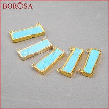 BOROSA Gold Color Rectangle Howlite Blue Howlite Bar Connector Druzy Jewelry Gems Connector for Jewelry Making G0834(China)