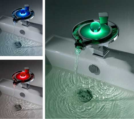 New 3 Color Changing LED Basin Waterfall Bathroom Sink Faucet (Unique  Design)