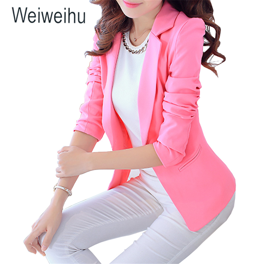 Women Jacket Blazer Slim Fit 2019 Long Sleeve Pink Single Button Coat Office Ladies Jacket Womens Notched Tops Blazers Feminino