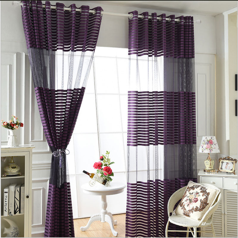 Modern Simple Polyester Purple Cloth Striped Bedroom Sheer
