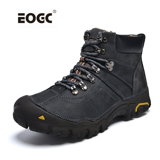Genuine Leather Shoes Men Russian style Men Snow Boots Plus Size Top Quality Leather Ankle Boots Lace-up Warm Winter Shoes