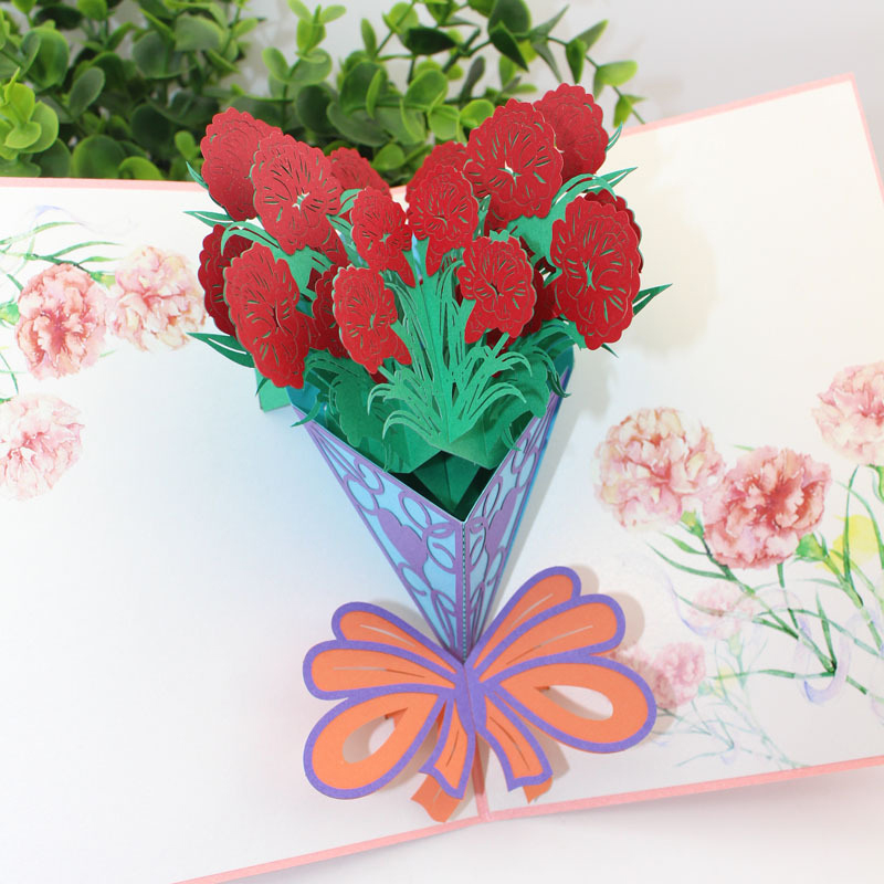 New Design 3d Handmade Paper Cut Mother Birthday Show Love To Mom Red Carnation Paper Invitation Greeting Card Mother S Day Gift Cards Invitations Aliexpress