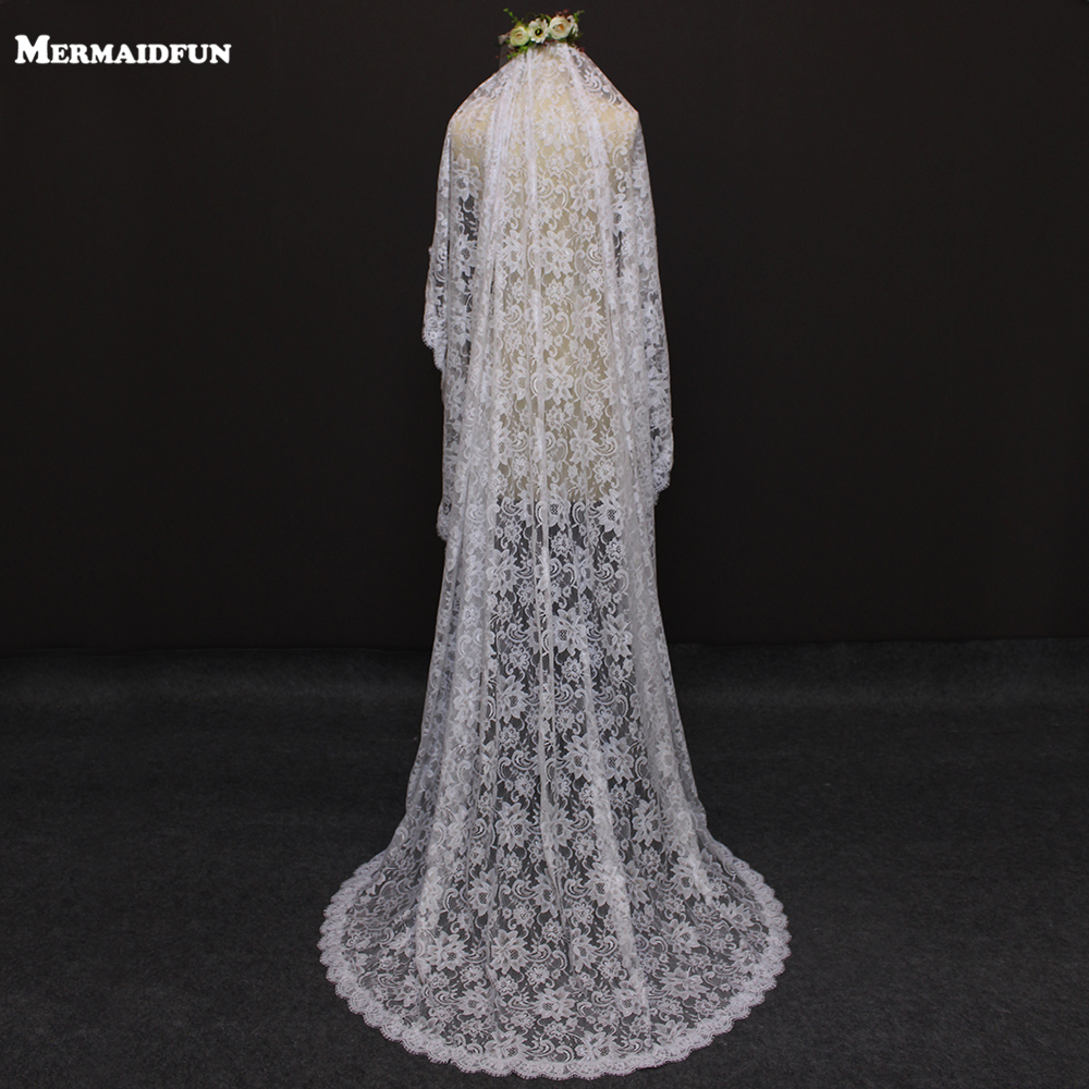 2019 Real Photos Romantic Flower Lace 2M One Layer Wedding Veil with Comb Beautiful Bridal Veil